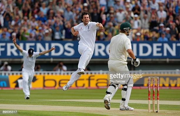 England bowler Graham Onions celebrates taking the wicket of Australian batsman Shane Watson off the first ball of the day during day two of the...