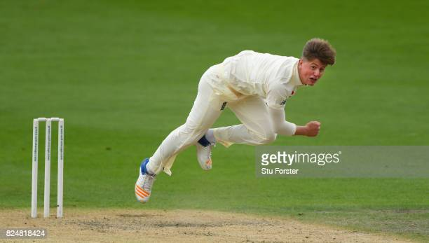 England bowler Jack Blatherwick in action during day one of the Second Under 19s Youth Test Series between England and India at New Road on July 31...