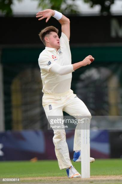 England bowler Jack Blatherwick in action during day three of the Second Under 19s Youth Test Series between England and India at New Road on August...