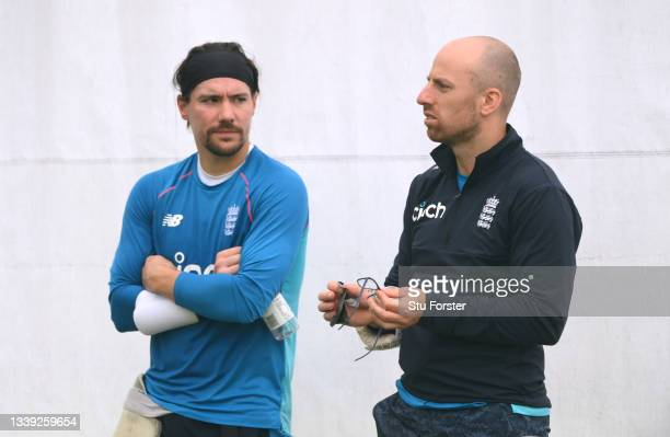 England bowler Jack Leach and Rory Burns chat during England nets ahead of the 5th and final test match against India at Old Trafford on September...