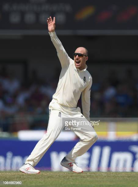 England bowler Jack Leach appeals for a wicket during Day Two of the Third Test match between Sri Lanka and England at Sinhalese Sports Club on...