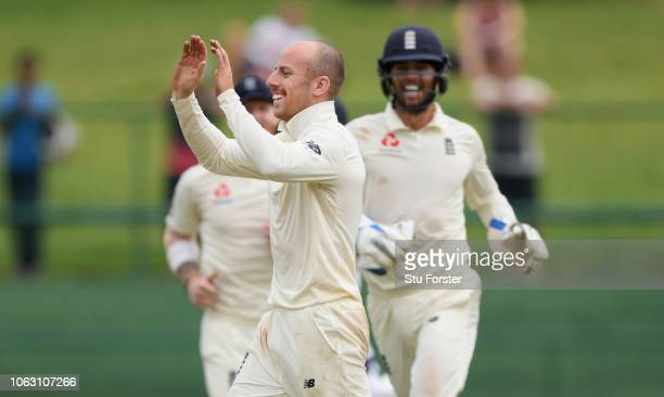 England bowler Jack Leach celebrates after taking the final Sri Lanka wicket and taking his 5th wicket of the innings during Day Five of the Second...