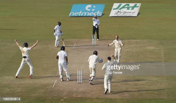 England bowler Jack Leach celebrates after taking the final wicket of Suranga Lakmal after review to give England the match and a 30 series victory...