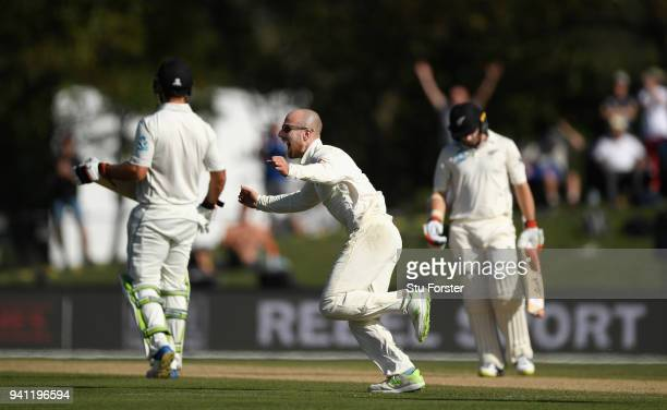 England bowler Jack Leach celebrates after taking the wicket of Tom Latham during day five of the Second Test Match between the New Zealand Black...
