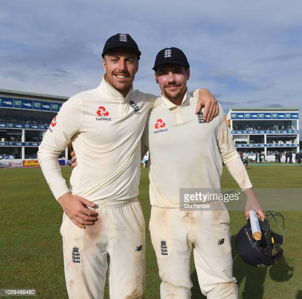 England bowler Jack Leach celebrates with Rory Burns after Day Four of the First Test match between Sri Lanka and England at Galle International...