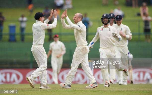 England bowler Jack Leach celebrates with Rory Burns after taking the final Sri Lanka wicket and taking his 5th wicket of the innings during Day Five...