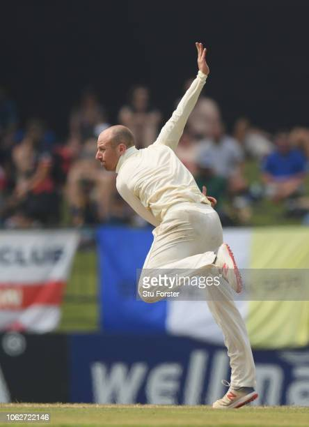 England bowler Jack Leach in action during Day Four of the Second Test match between Sri Lanka and England at Pallekele Cricket Stadium on November...