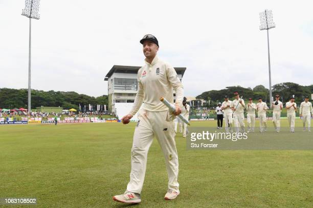 England bowler Jack Leach leaves the field after taking the final Sri Lanka wicket and taking his 5th wicket of the innings during Day Five of the...