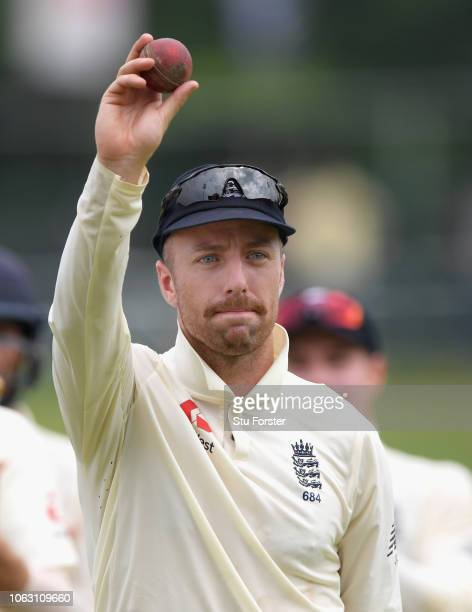 England bowler Jack Leach leaves the field after taking the final Sri Lanka wicket and taking his 5th wicket of the innings to win the match and a...