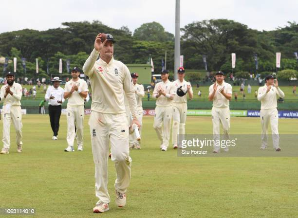 England bowler Jack Leach leaves the field after taking the final Sri Lanka wicket and taking his 5th wicket of the innings as England win the test...