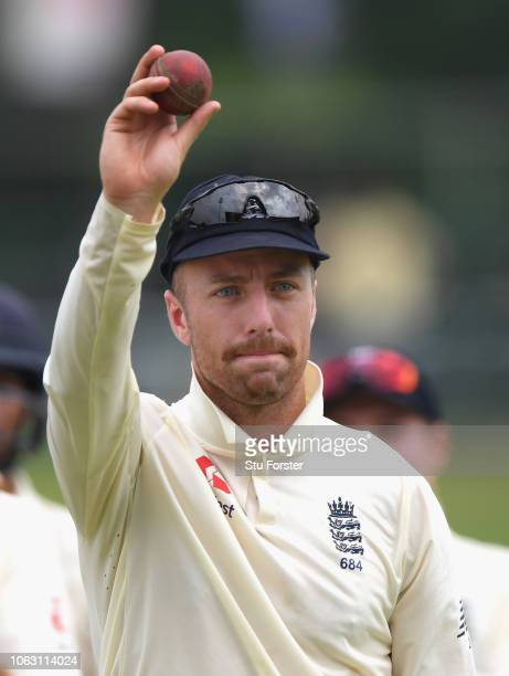 England bowler Jack Leach leaves the field after taking the final Sri Lanka wicket and taking his 5th wicket of the innings as England win the match...