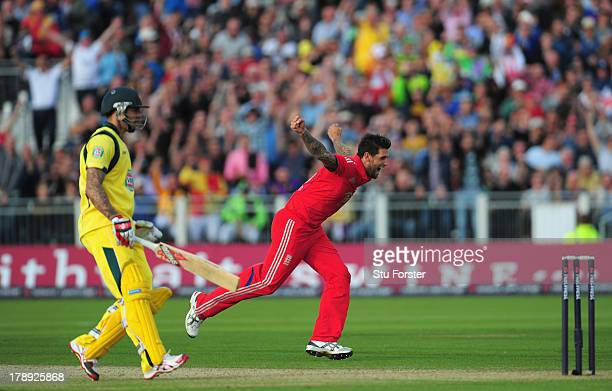 England bowler Jade Dernbach celebrates after taking the wicket of James Faulkner during the 2nd NatWest series T20 match between England and...