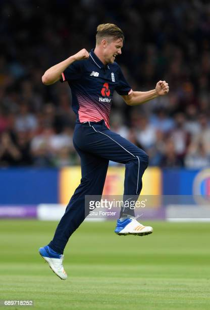 England bowler Jake Ball celebrates after dismissing South Africa batsman Faf du Plessis during the 3rd Royal London Cup match between England and...