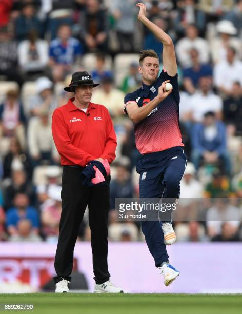 England bowler Jake Ball in action during the 2nd Royal London One Day International between England and South Africa at The Ageas Bowl on May 27...