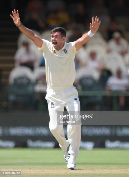 England bowler James Anderson appeals for a wicket during Day Five of the Second Test between South Africa and England at Newlands on January 07 2020...