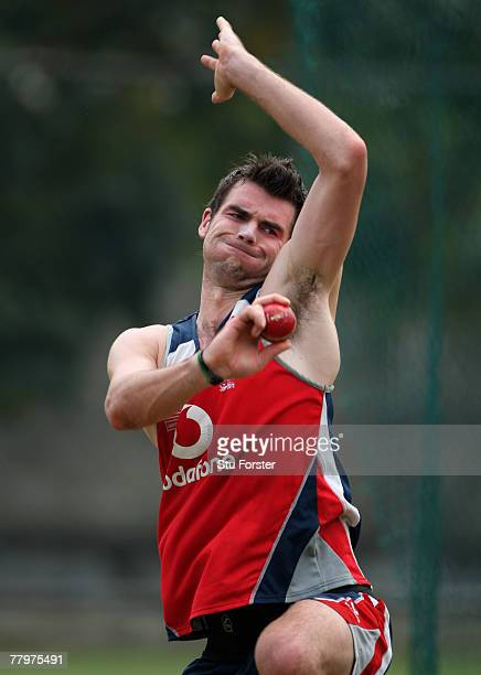 England bowler James Anderson bowls during England Nets at the RPremadasa Stadium on November 19 2007 in Colombo Sri Lanka