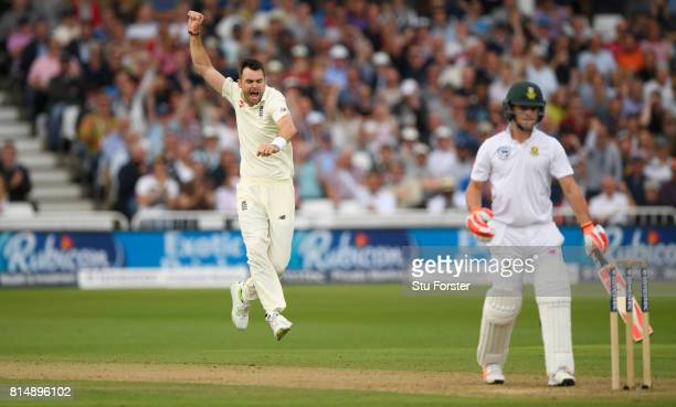 England bowler James Anderson celebrates after dismissing Heino Kuhn during day two of the 2nd Investec Test match between England and South Africa...