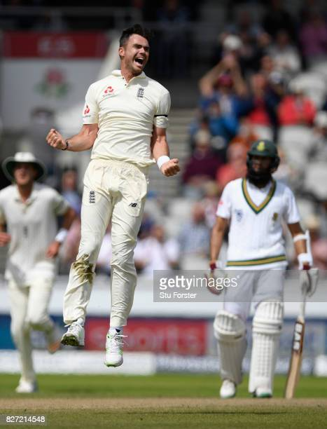 England bowler James Anderson celebrates after dismissing Heino Kuhn during day four of the 4th Investec Test match between England and South Africa...