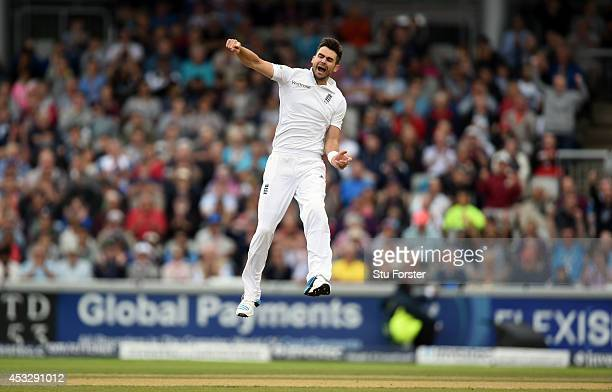 England bowler James Anderson celebrates after dismissing India batsman Virat Kholi during day one of the 4th Investec Test match between England and...
