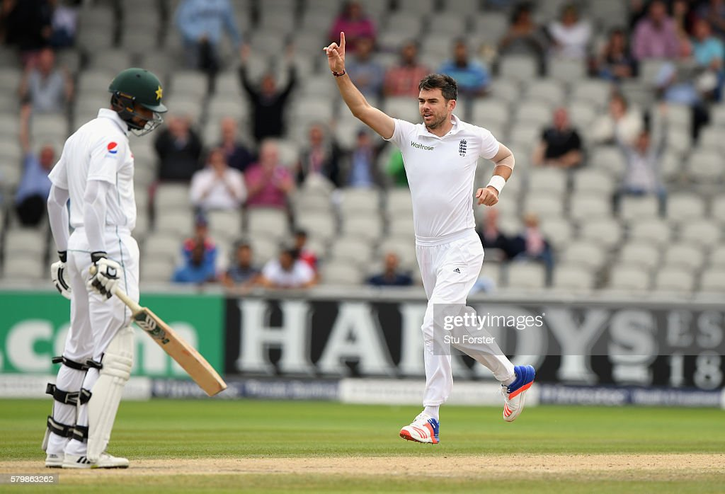 England bowler James Anderson celebrates after dismissing Pakistan batsman Shan Masood during day four of the 2nd Investec Test match between England and Pakistan at Old Trafford on July 25, 2016 in Manchester, England.