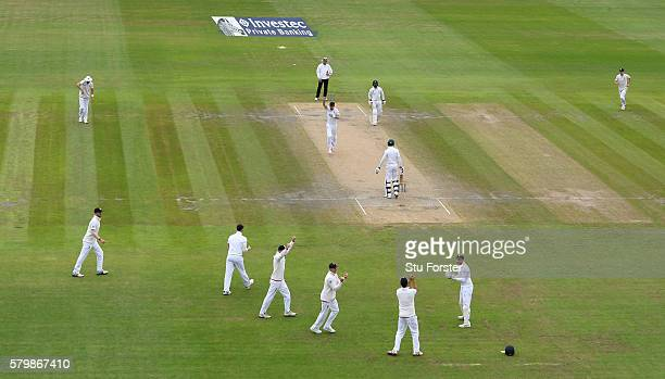England bowler James Anderson celebrates after dismissing Pakistan batsman Shan Masood caught by Jonny Bairstow during day four of the 2nd Investec...