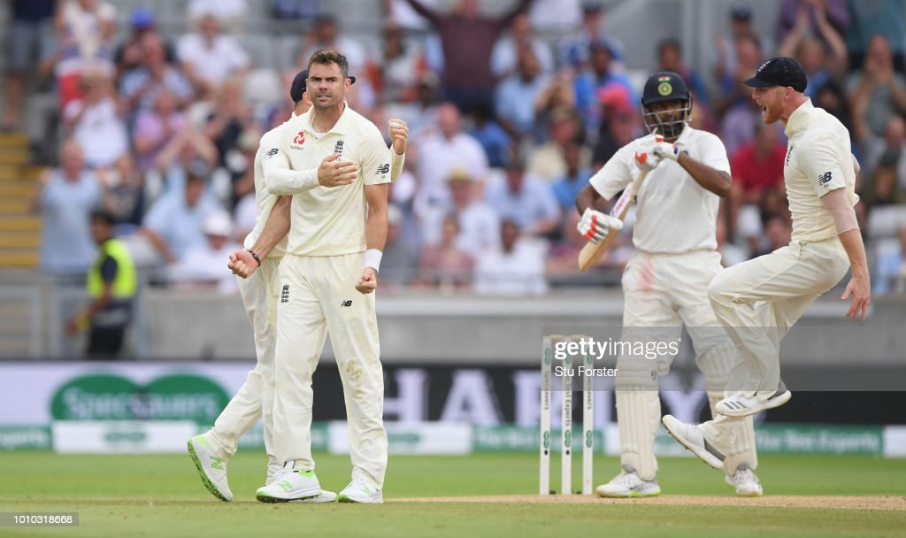 England bowler James Anderson celebrates after dismissing Ravi Ashwin during day 3 of the First Specsavers Test Match at Edgbaston on August 3, 2018 in Birmingham, England.