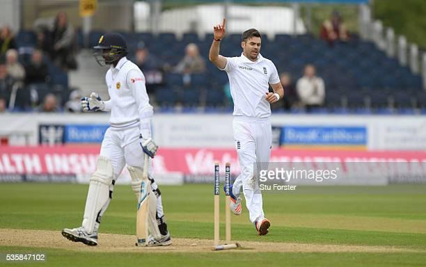 England bowler James Anderson celebrates after dismissing Sri Lanka batsman Shaminda Eranga during day four of the 2nd Investec Test match between...