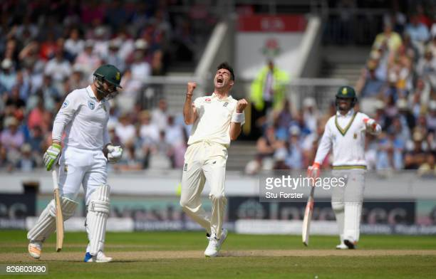 England bowler James Anderson celebrates after dismssing South Africa batsman Dean Elgar in his first over bowling from the James Anderson end during...