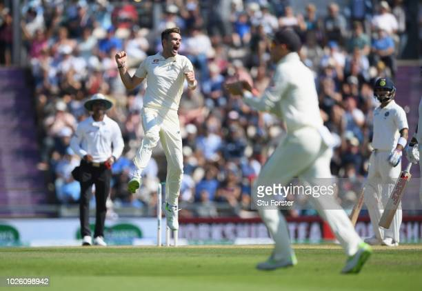 England bowler James Anderson celebrates after having India batsman Shikhar Dhawan caught during the 4th Specsavers Test Match between England and...