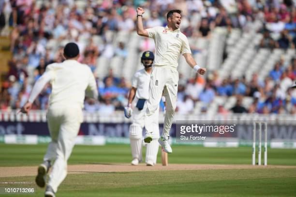 England bowler James Anderson celebrates after taking the wicket of Dinesh Karthik during day 4 of the First Specsavers Test Match between England...