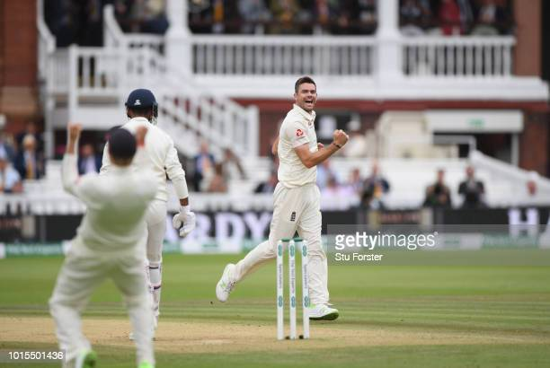 England bowler James Anderson celebrates after taking the wicket of Lokesh Rahul during day 4 of the Second Test Match between England and India at...