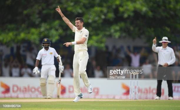 England bowler James Anderson celebrates after taking the wicket of Sri Lanka batsman Dimuth Karunaratne during Day Two of the First Test match...