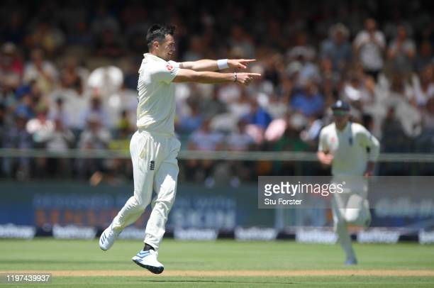 England bowler James Anderson celebrates after taking the wicket of Faf du Plessis during Day Two of the Second Test between South Africa and England...