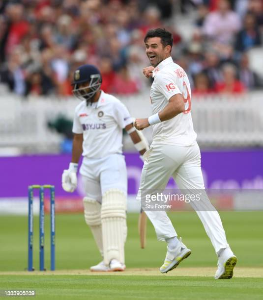 England bowler James Anderson celebrates after taking the wicket of India batsman Rahane on Ruth Strauss Foundation Day during day two of the Second...