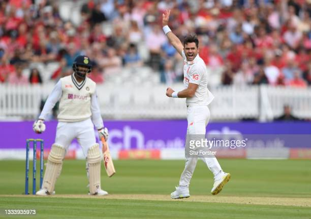 England bowler James Anderson celebrates after taking the wicket of India batsman Jasprit Bumrah on Ruth Strauss Foundation Day during day two of the...