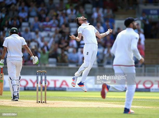England bowler James Anderson celebrates after taking the wicket of Younis Khan during day 5 of the 3rd Investec Test match between England and...