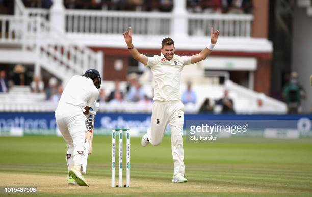 England bowler James Anderson celebrates the wicket of Murali Vijay his 100th Test wicket at Lords during day 4 of the Second Test Match between...