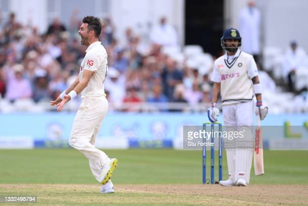 England bowler James Anderson celebrates the wicket of Virat Kohli first ball during day two of the First Test Match between England and India at...