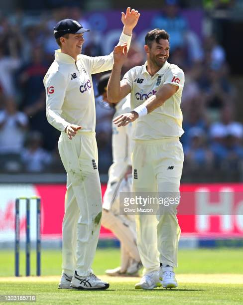 England bowler James Anderson celebrates with Zak Crawley after taking the wicket of Neil Wagner during day three of the second LV= Insurance Test...