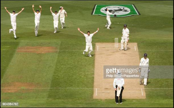 England bowler James Anderson gets the wicket of Mathew Sinclair of New Zealand during the 2nd Test match between New Zealand and England at the...