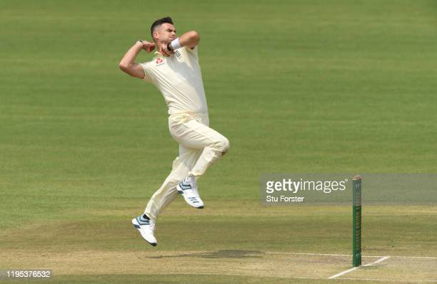 England bowler James Anderson in action during day 3 of the 3 day practice match between South Africa A and England at Willowmoore Park on December...