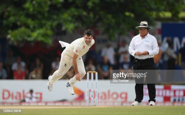 England bowler James Anderson in action during Day Four of the First Test match between Sri Lanka and England at Galle International Stadium on...