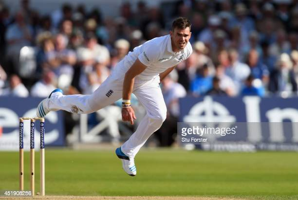 England bowler James Anderson in action during day one of the 1st Investec Test Match between England and India at Trent Bridge on July 9 2014 in...