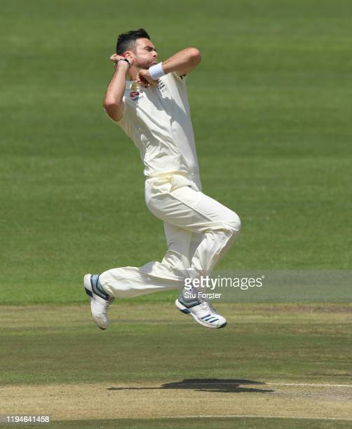 England bowler James Anderson in action during day two of the 2 Day Practice match between England and South Africa Invitation XI at Willowmoore Park...