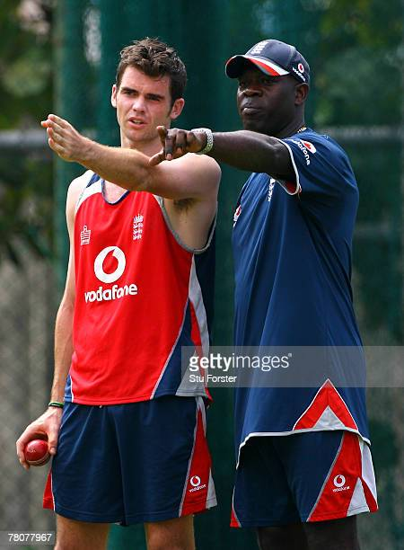 England bowler James Anderson is given some advice from bowling coach Ottis Gibson during England nets at the Premadasa Stadium on November 24 2007...