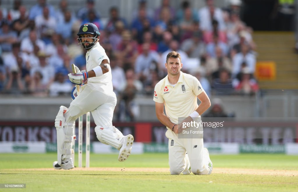England bowler James Anderson looks on as India batsman Virat Kohli picks up some runs during day 3 of the First Specsavers Test Match at Edgbaston on August 3, 2018 in Birmingham, England.