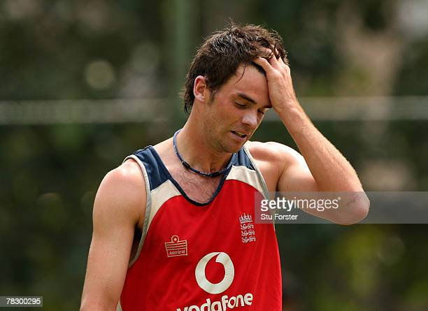 England bowler James Anderson looks on during England cricket nets at the Premadasa Stadium on December 7 2007 in Colombo Sri Lanka