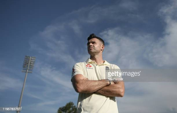 England bowler James Anderson poses for a picture ahead of potentially his 150th Test Match during an England nets session ahead of the First Test...