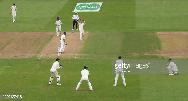 England bowler James Anderson reacts after Keaton Jennings had dropped Virat Kohli during day four of the 3rd Test Match between England and India at...