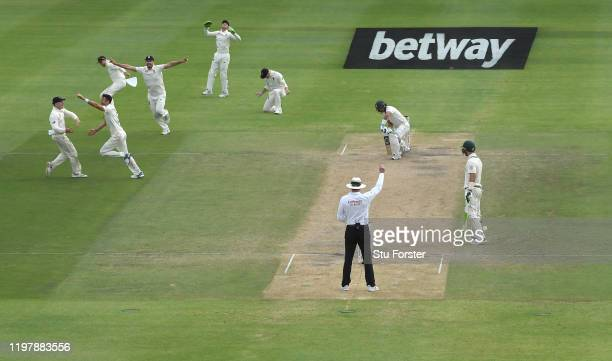 England bowler James Anderson runs away to celebrate after taking the wicket of South Africa batsman Zubayr Hamza during Day Four of the Second Test...